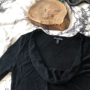 Solid Black Ribbed Cowl Neck Sweater Size S Tencel